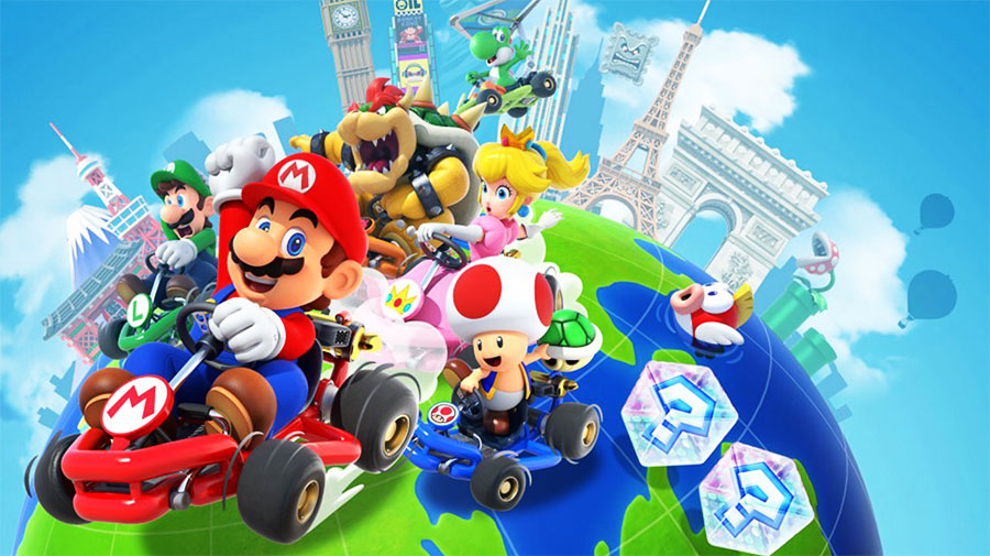 mario kart tour race around the world on iphone