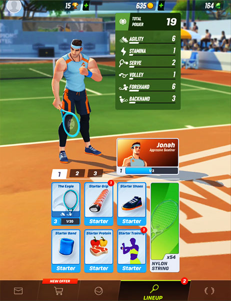 Tennis Clash : Upgrade the skills of your player