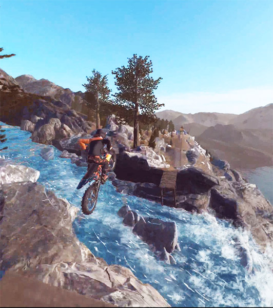 Dirt Bike Unchained : Flying over the river !